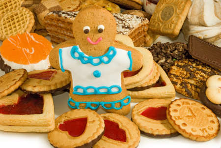 gingerbread cookies: Image many delicious cookies and gingerbread closeup Stock Photo