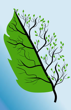 resemblance: Vector image of stylized leaves on a green background close-up Illustration