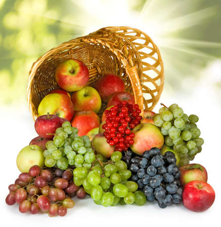 fruits in a basket: Image of different fruits in inverted basket close-up