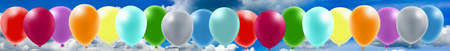 colored balloons: image of many colored balloons in the sky.Horizontal Stock Photo