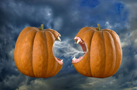 bared: two bared pumpkins on sky background Stock Photo