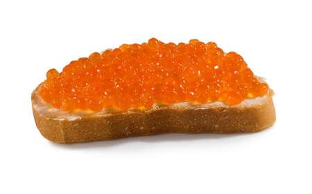 赤キャビアのクローズ アップとパンの分離イメージ