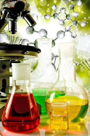 microscopy: Image of laboratory glassware and microscopy on DNA strand background  closeup