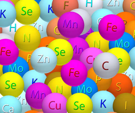 b ball: stylized balls with vitamins close-up Stock Photo