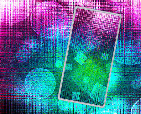 new technology: Image of smartphones on techno background close up