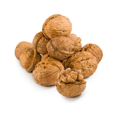 craked: Isolated image of walnuts on a white background close up