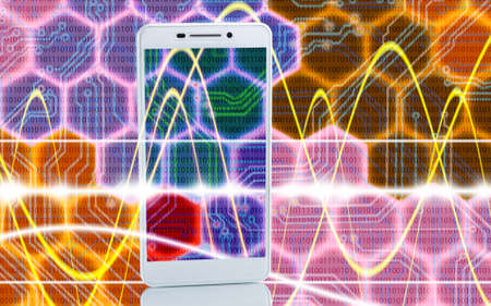 new generation: Image of smartphones on techno background close up