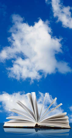 image of book against the sky close-up