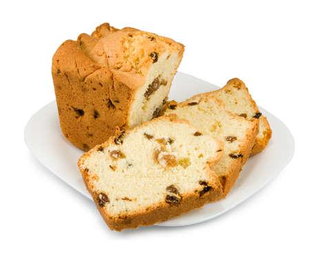 plato del buen comer: pastel sobre un fondo blanco