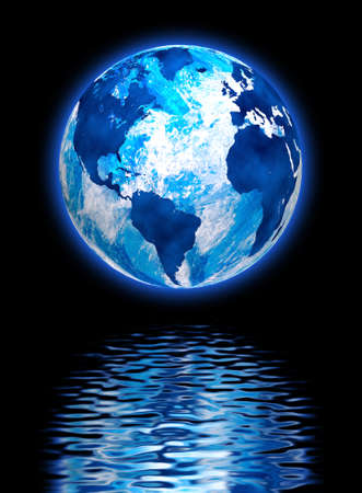 water reflection: image of the planet earth in the reflection of water