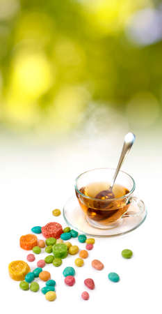 image of tea and candy close up