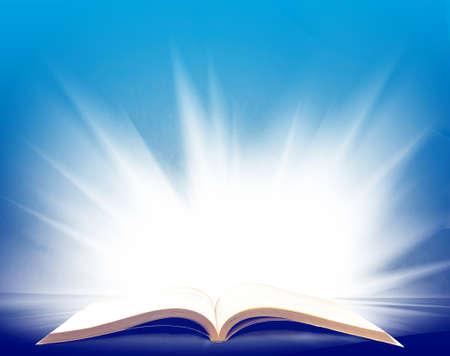 美しい光と開かれた本の画像をクローズ アップ