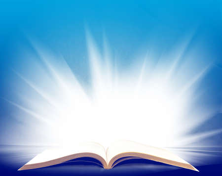 image of open book with a beautiful light close up Stock Photo