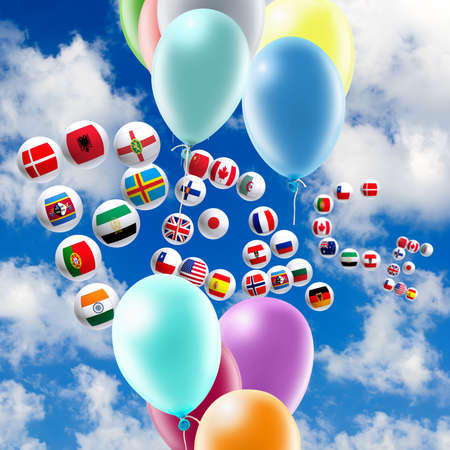image of balloons and stylized flags in the sky close-up