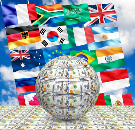 image of stylized  ball of money against the flags