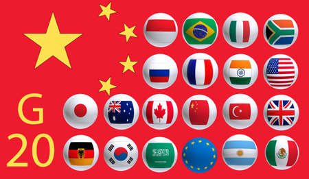 geopolitics: image of flags countries summit meeting G20