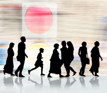 semaforo peatonal: image of silhouettes of people and traffic light closeup
