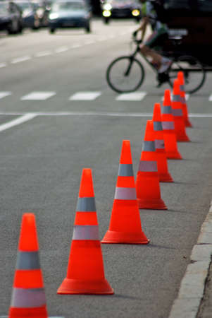 image of traffic cone on the road close-up Stock Photo