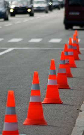 divert: image of traffic cone on the road close-up Stock Photo