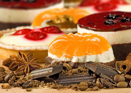different delicious cakes close up Stock Photo