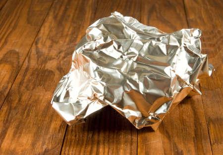 image of crumpled foil closeup Stock Photo