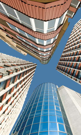 Image of skyscrapers in a city closeup Stock Photo