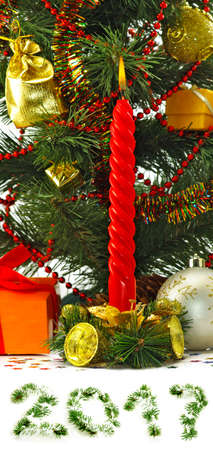 Image of Christmas decorations close up