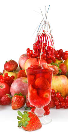 image of strawberry cocktail and fruit close up