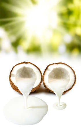 Isolated image of coconut and coconut milk close up