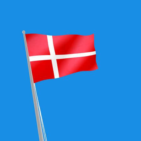 denmark flag: image of Denmark flag on blue background. 3d illustration