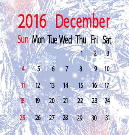 month: calendar for december month on frosty background
