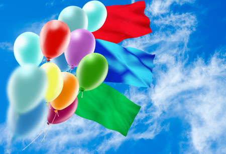 image of of balloons in the sky closeup