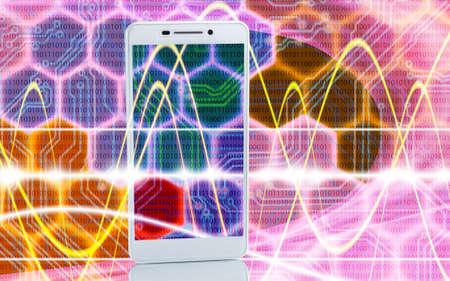 microcircuit: Image of smartphones on techno background closeup Stock Photo