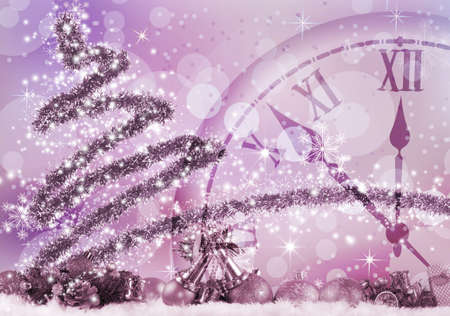 Image of Christmas tree and clock close up. Stylized Christmas tree and clock Christmas greeting card on purple background.