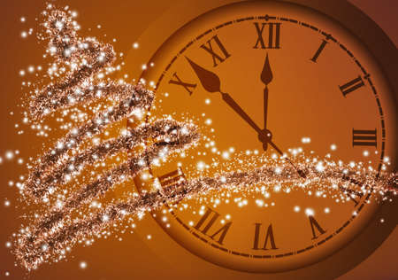 Image of Christmas tree and clock close up. Stylized Christmas tree and clock Christmas greeting card Stock Photo