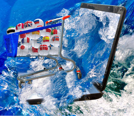 Truck with balls of various countries in the sea Stock Photo