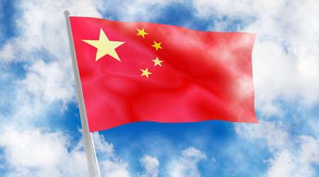 star path: China flag on sky background.