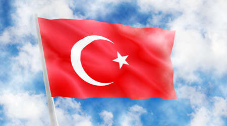Turkish flag on sky background.