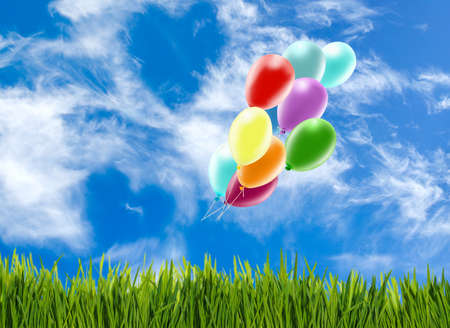 Image of beautiful colorful balloons on sky background. Balloons as a symbol of love and holiday.