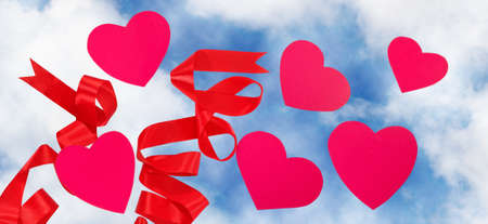 image decorative hearts on sky background Stock Photo