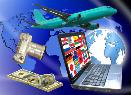 image of airplane ,camera, money, laptop, flags of different countries on earth background Stock Photo