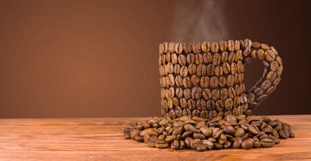 isolated image of cup decorated with coffee beans