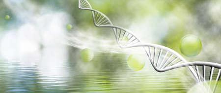 緑の背景のクローズ アップに dna の鎖の分子構造のイメージ 写真素材