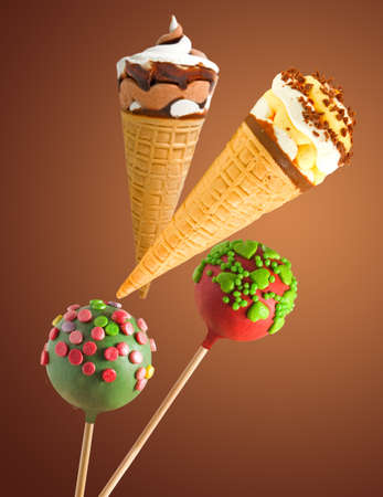 Image of tasty candy and ice cream close up Stock Photo