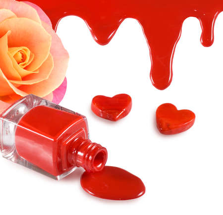 isolated image of red nail polish,flower rose and heart on a white background