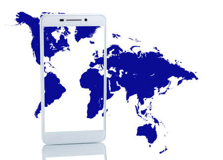 Image of smartphone on map background close-up. 3d image Stock Photo