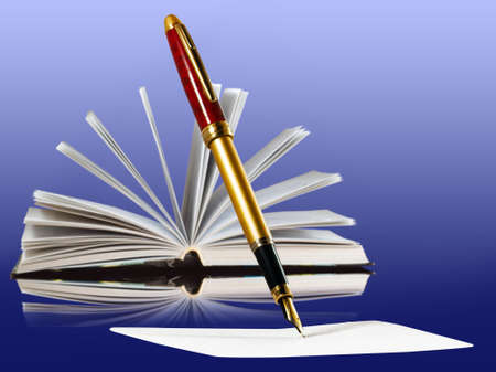 Image of book and pens on blue background Stock Photo