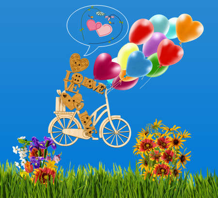 Image of decorative little man on a bicycle and balloons against the sky. Wooden man,hearts, balloons and flowers as a symbol of love and  holiday.