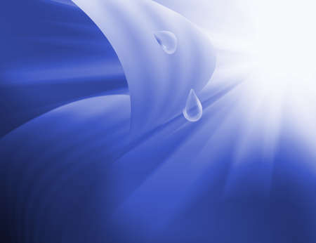 Abstract image of drop on  leaf on blue background, 3d illustration.