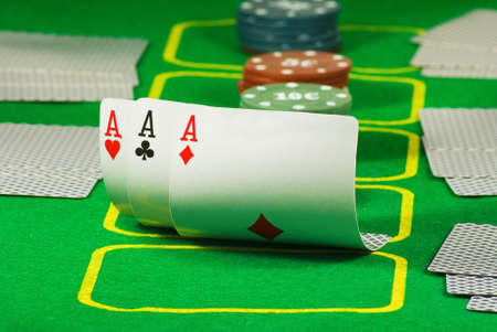 Image of chips and cards for playing poker closeup